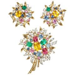 1950s Jomaz Colorful Crystal Rhinestone Brutalist Demi Parure