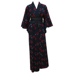 Vintage Black & Red Wool Kimono Dress Robe