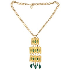 1960s Substantial Brutalist Articulated Gold Tone Jade Green Glass Necklace