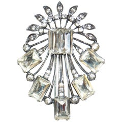 1940s Eisenberg Original Sterling Rhinestone Bouquet Brooch
