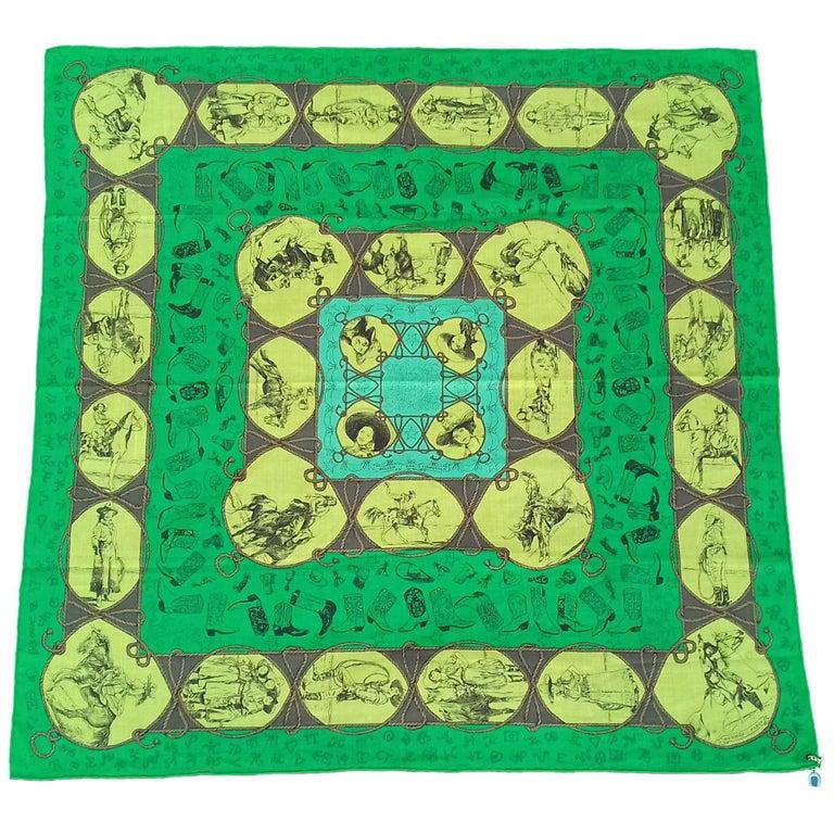 Hermès Cotton Charm Scarf Rodeo Des Cowgirls Kermit Oliver TEXAS 67 cm GRAIL For Sale