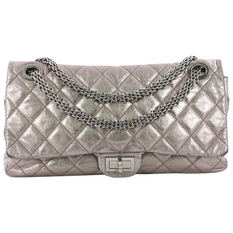 62672bb5d866 Chanel Reissue 2.55 Handbag Quilted Metallic Aged Calfskin 228 For Sale