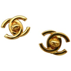 "1995 Chanel Fall ""CC"" Mademoiselle Turn Lock Earrings"