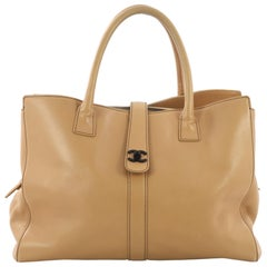Chanel Vintage CC Turnlock Tote Leather Large