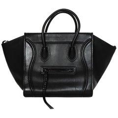 Celine Black Leather Phantom Trapeze Winged Luggage Tote Bag