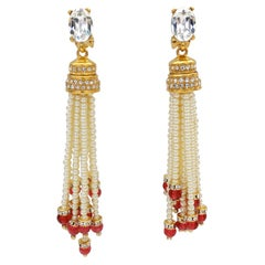 Pearl Tassel Crystal Encrusted Earrings