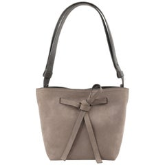 "MAISON MARGIELA ""Mini Drawstring"" Taupe Leather Drawstring Shoulder Bag NWT"
