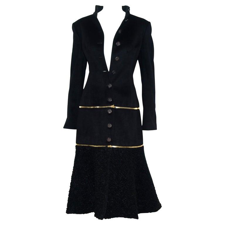 Alexander McQueen Black Adaptable Wool & Cashmere Coat For Sale