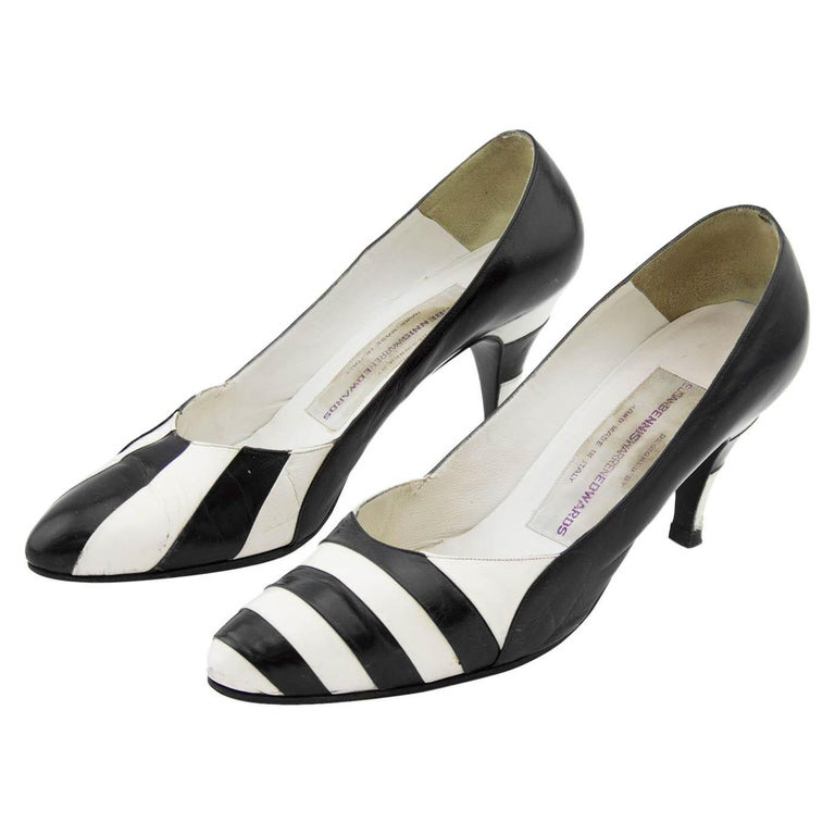 Late 1980s Susan Bennis Warren Edwards Black and White Striped pumps For Sale