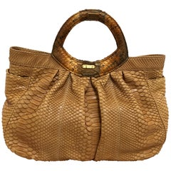 LAI Pumpkin Colored Python Handbag
