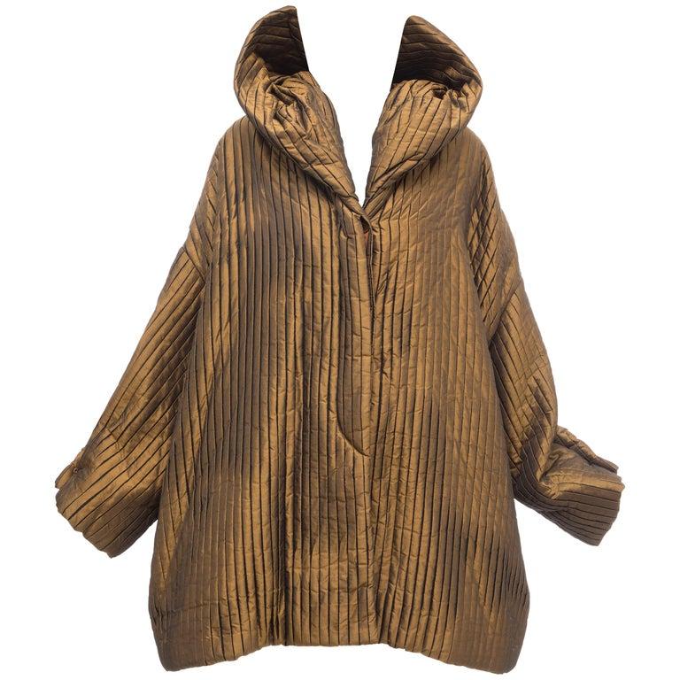 Romeo Gigli Bronze Silk Satin Nylon Hooded Coat, Fall 1989 For Sale