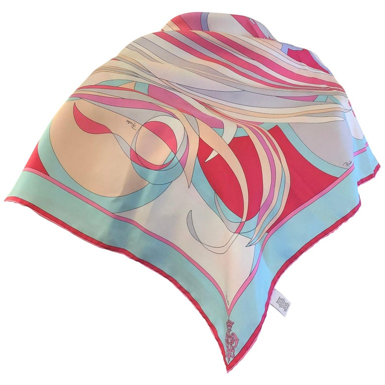 """2007 Emilio Pucci for Guerlain Silk Scarf Limited Edition 34""""x34"""" For Sale"""