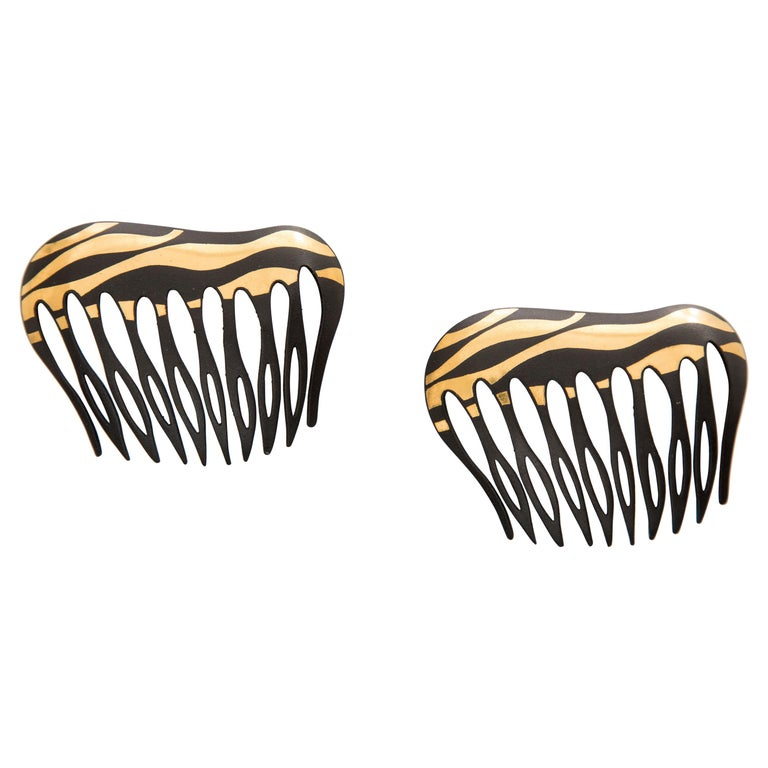 Angela Cummings Tiffany & Co. Damascene Lacquered Iron Gold Hair Combs, 1970's For Sale