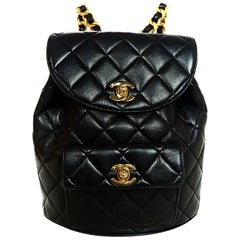 Chanel Vintage Black Lambskin Quilted CC Flap Backpack Bag w. Laced Gold Chain