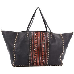 Valentino Rolling Rockstud Convertible Tote Tribal Embellished Leather Large