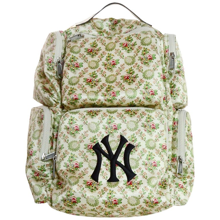 b68a39555 Gucci 2018 Floral Satin Large Backpack Bag W/ NY Yankees Patch For Sale