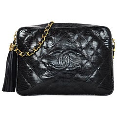 Chanel Vintage '89-'91 Navy Lizard Quilted CC Camera Crossbody Bag w. Tassel