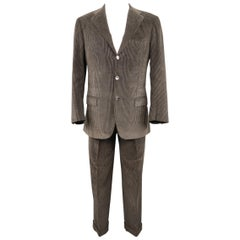 KITON 38 Short Dark Gray Solid Cotton / Cashmere Corduroy 32 28 Suit