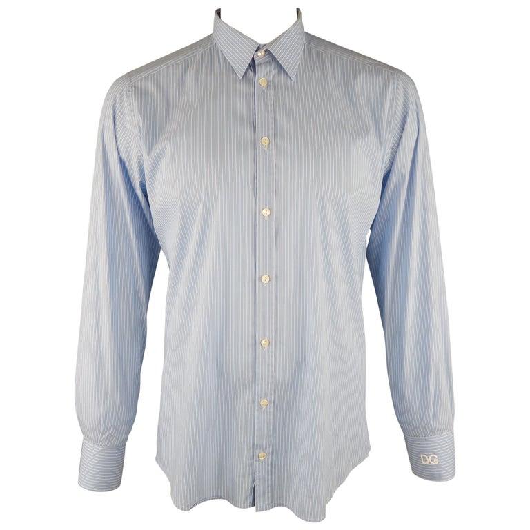 b4edfd90 DOLCE and GABBANA Size L Blue and White Stripe Cotton Dress Shirt ...