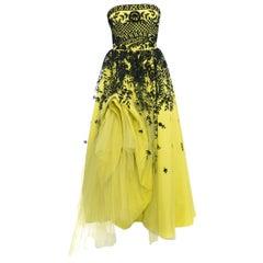 Oscar de la Renta Spring 2014 Runway Chartreuse Yellow Tulle Gown - 4