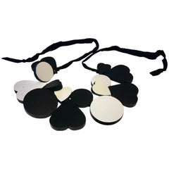 Rare YSL Runway Black and White Architectural Statement Necklace