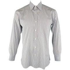 BRIONI Size L Light Blue Stripe Cotton Long Sleeve Shirt