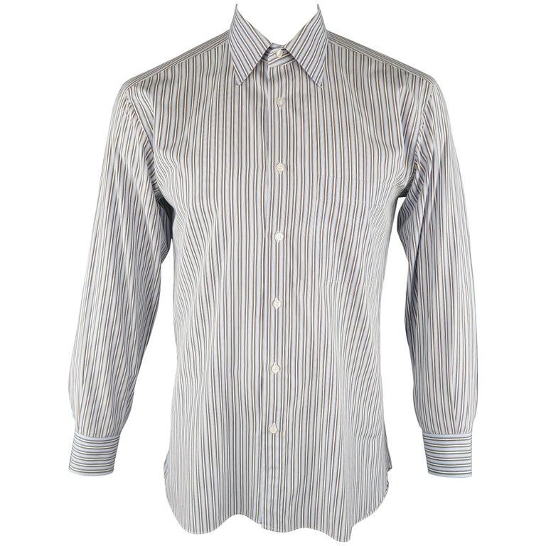 b3c18be935ff8 BRIONI Size L Light Blue Stripe Cotton Long Sleeve Shirt For Sale at ...