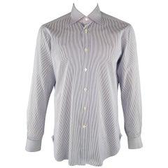 KITON Size L Navy Pinstripe Cotton Dress Shirt