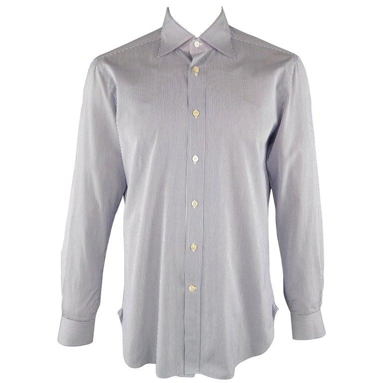 KITON Size L Navy Pinstripe Cotton Dress Shirt For Sale