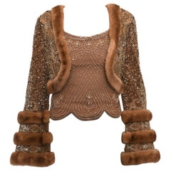 Reem Acra light Brown Beaded Tank and Mink Trim Crop Jacket - 2