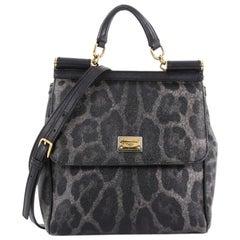 Dolce & Gabbana Miss Sicily Handbag Leopard Print Leather North South