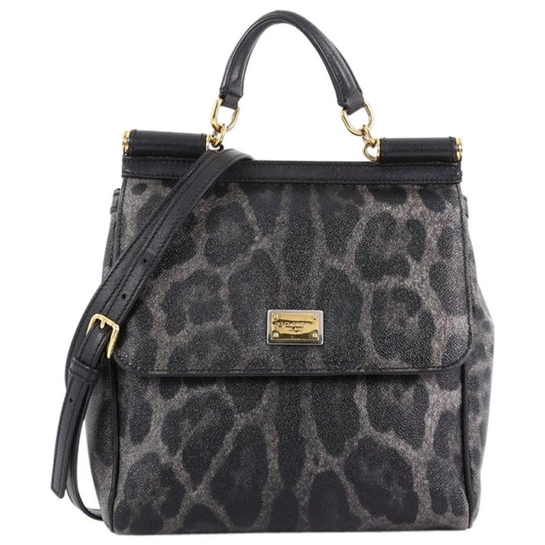 f872e40025 Dolce and Gabbana Miss Sicily Handbag Leopard Print Leather North South For  Sale at 1stdibs
