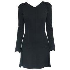Nina Ricci Black Wool Knit Jersey Dress with Flared Skirt - 6