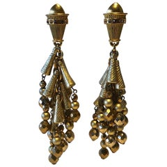 Vintage Designer Gilt Architectural Dangle Statement Earrings