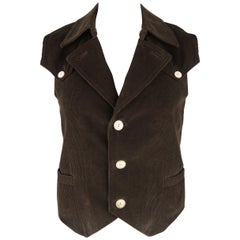 NUMBER (N)INE 40 Brown Solid Corduroy Vest