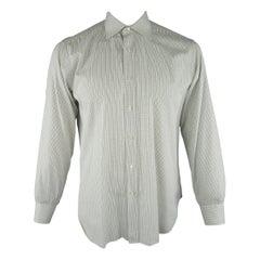 BRIONI Size L White Window Pane Cotton Dress Shirt