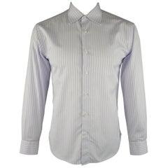 BRIONI Size L Purple Stripe Cotton Dress Shirt