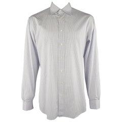 BRIONI Size L Light Blue Plaid Cotton Dress Shirt