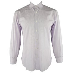 BRIONI Size M Lavender Stripe Cotton Dress Shirt