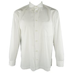 ISSEY MIYAKE Size L White Solid Polyester / Cotton Casual Shirt