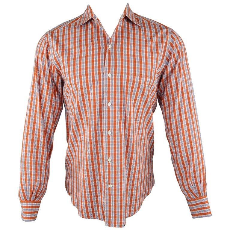 LORO PIANA Size S Orange Plaid Cotton Dress Shirt For Sale