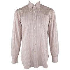 KITON Size L Brown Window Pane Cotton Dress Shirt