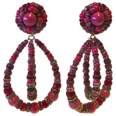 Architectural Fuchsia French Statement Earrings