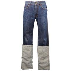 JEAN PAUL GAULTIER JPG JEANS Size 31 Dark Wash Oversized Cuff Jeans