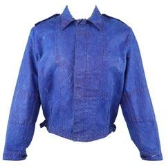 OUR LEGACY 38 Blue Paint Effect Cotton Epaulet Bomber Jacket