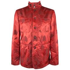 JOHN VARVATOS 44 Red Camouflage Jacquard Zip Hood Collar Jacket