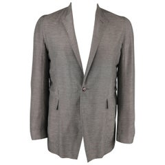 RICK OWENS 42 Grey Textured Linen Blend Single Button Sport Coat Jacket