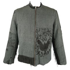 BY WALID L Teal & Black Embroiderred Silk Coat Bomber Jacket