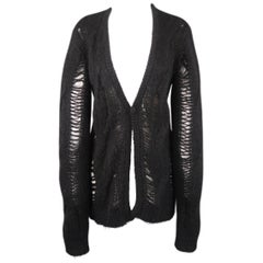 GIVENCHY Size M Black Wool / Mohair Destroyed Single Button Cardigan Sweater