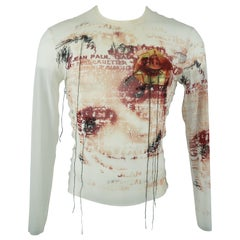 JEAN PAUL GAULTIER Size L White & Burgundy Eye Mesh Patch Mesh Pullover
